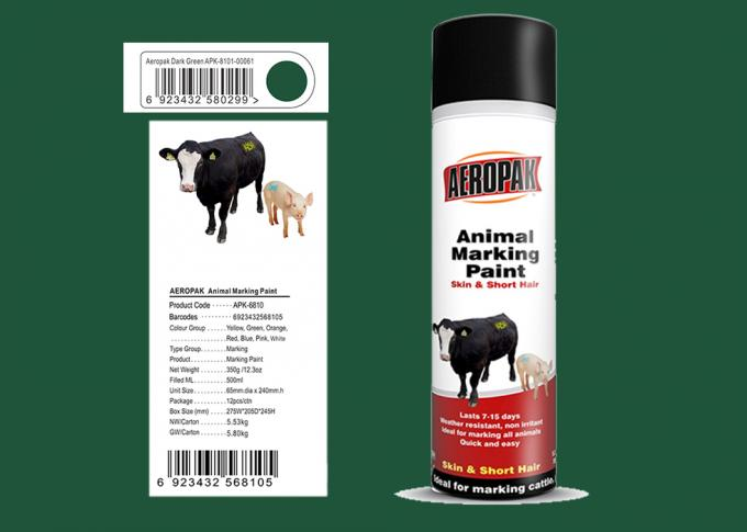 Dark Green Color Marking Spray Paint , Animal Marking Paint  With REACH Certificate