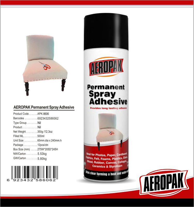Adhesive Clinging Upholstery Spray Glue Low Mist For Wood / Glass / Paper