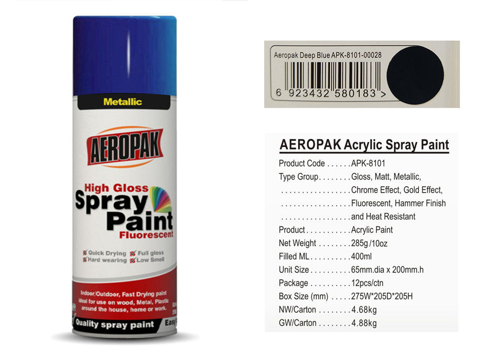 AEROPAK brand aerosol can Spray Paint with MSDS deep blue color for car