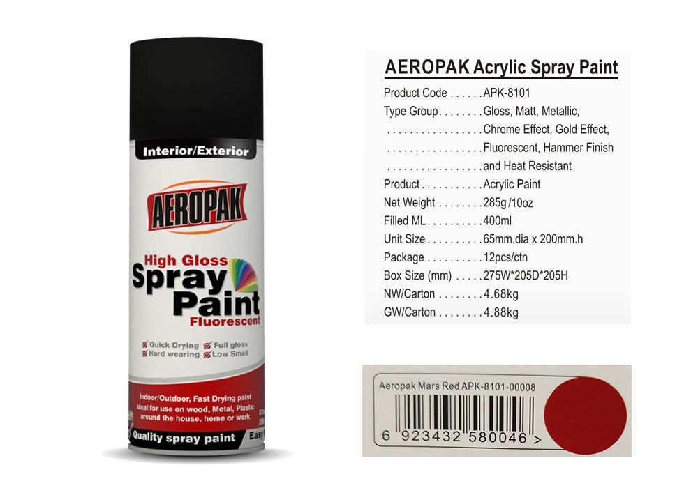 Car Acrylic Spray Paint 0.4L With Mars Red Color APK-8101