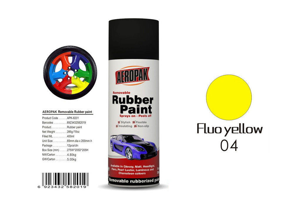 Fluo Yellow Color Spray Paint Remover 12pcs / Ctn For Car Coating
