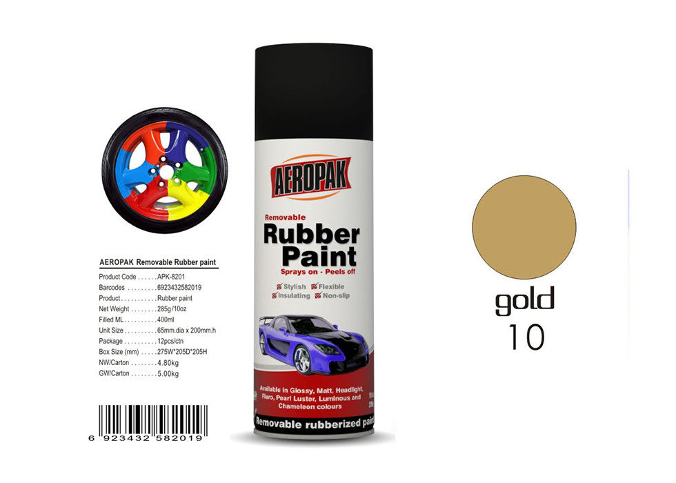 Wheel Removable Rubber Spray Paint With Pearl Luster Gold Color