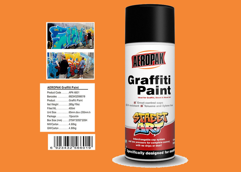 MSDS Graffiti Spray Paint , Outdoor Spray Paint With  Orange Yellow Color