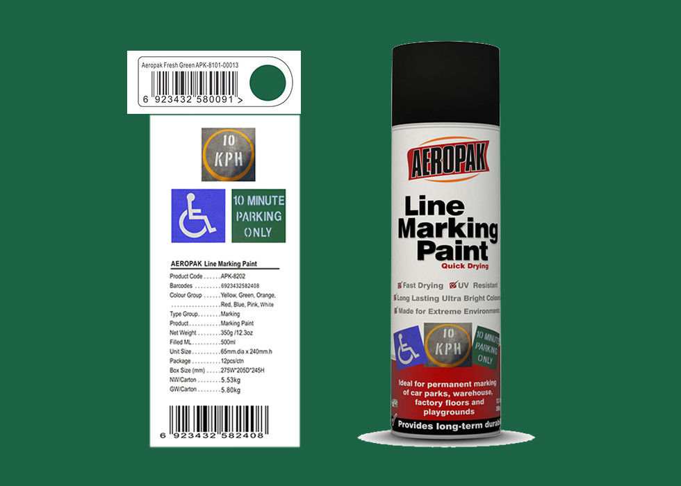 AEROPAK for road with SGS fresh green color 500ml Linie Marking Spray Paint