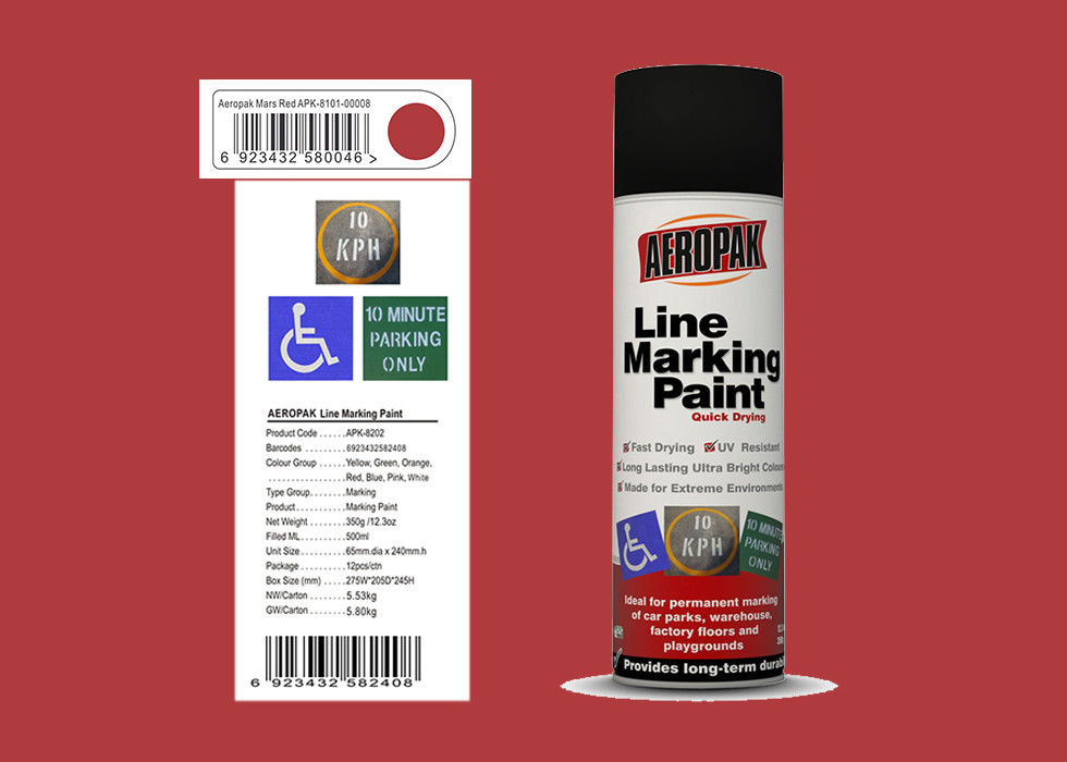 AEROPAK 500ML Line Marking mars red Spray Paint for wall with SGS