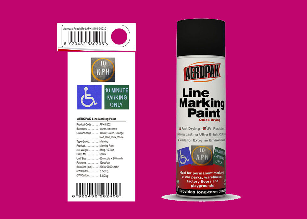 AEROPAK peach red color 500ml Line Marking Spray Paint with MSDS for street