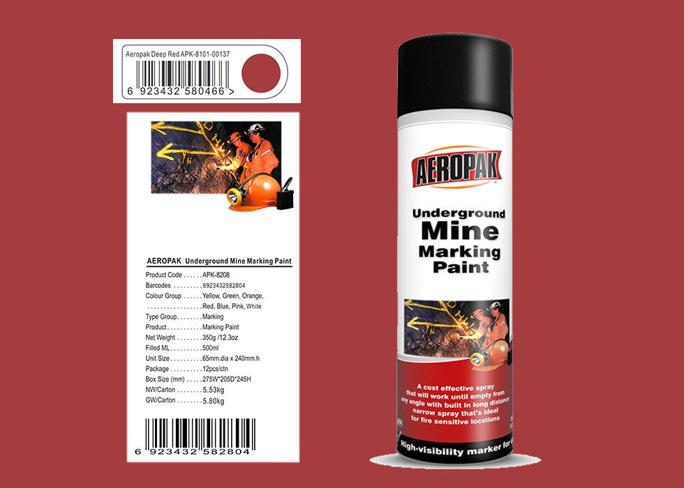 Aeropak Deep Red With Msds 500ml Underground Mine Marking