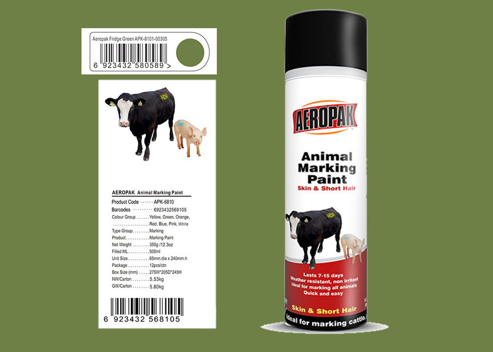 Fridge Green Color Marking Spray Paint , Animal Marking Paint Good Adhesiveness For Pig