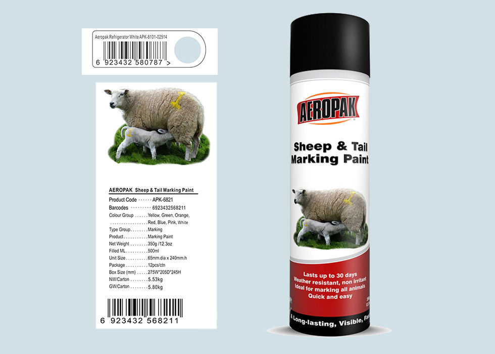 SGS Certificated Marking Spray Paint , Livestock Marking Paint Refrigerator White