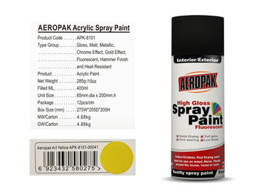 AEROPAK art yellow color 400ml acrylic Spray Paint for wood with MSDS certificate